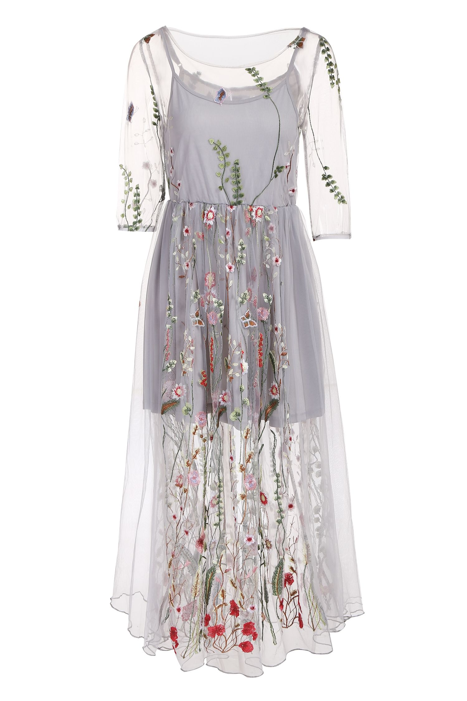 Mono style sleeve embroidery oneck tulle mesh dress mesh