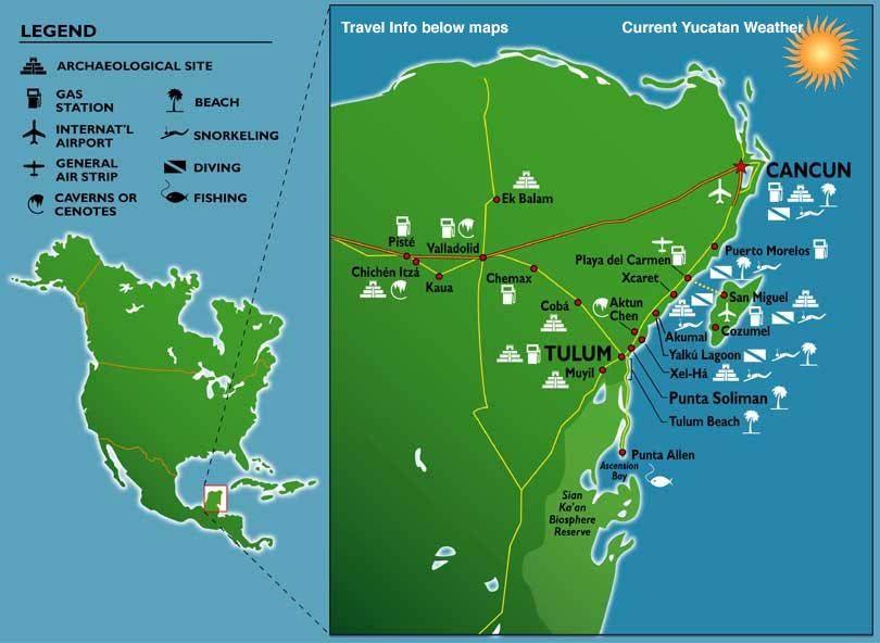 a detailed map of the yucatan peninsula mexico includes mayan ruins and beach vacation areas along maya caribbean coast