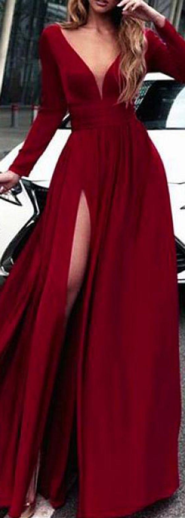 Junoesque spandex vneck neckline long sleeves aline prom dress