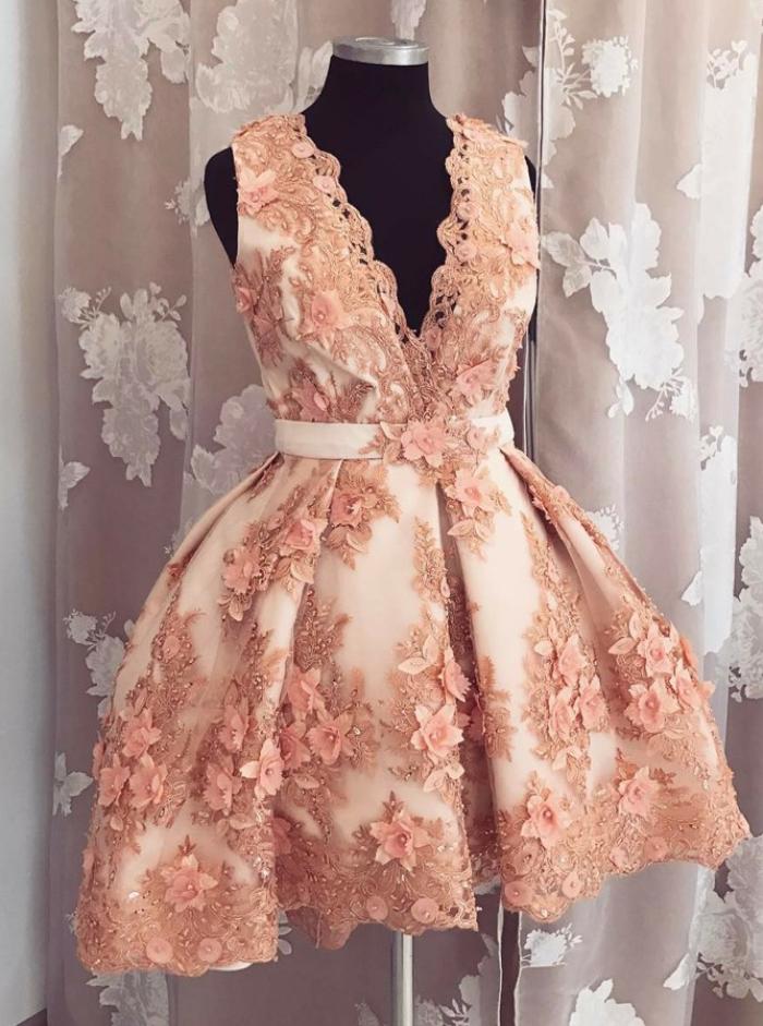 Homecoming Dresses,A-line Homecoming Dresses,V-nec