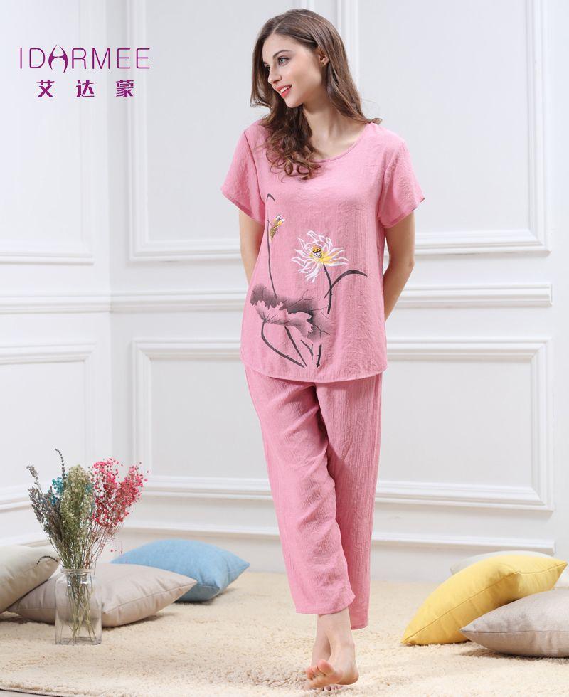 IDARMEE S1052 New Design Women Sleepwear Pajamas Sets Chinese Style  Nightwear Lotus Flower Pattern Nightgowns Pijamas 561f5746f