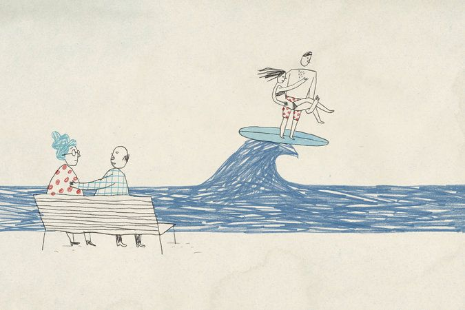 Oh, Brian Rea, how I love you. I can't say for sure how it is, but those simple figures just emote like crazy. The hair on the surfer dude's chest! The simple, limp expression on the blue hair's face! Scribbly wave! Sigh! for NYTimes