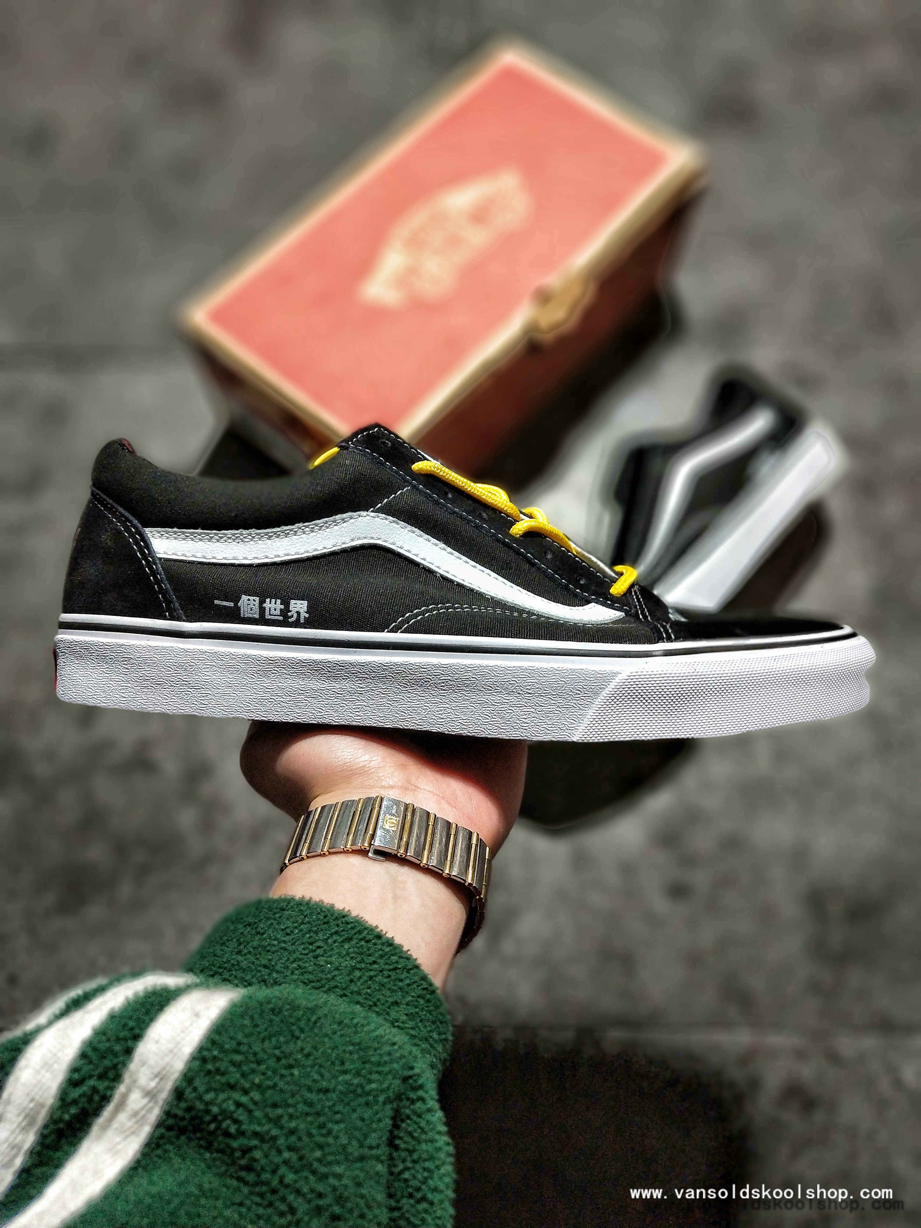 6876ce9d38 HIGH QUALITY VANS CLASSIC OLD SKOOL ONE WORLD BLACK WHITE SKATE SHOE FOR  SALE