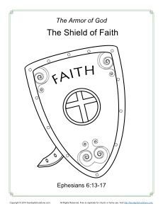 Shield Of Faith Coloring Page Armor Of God Bible Activities