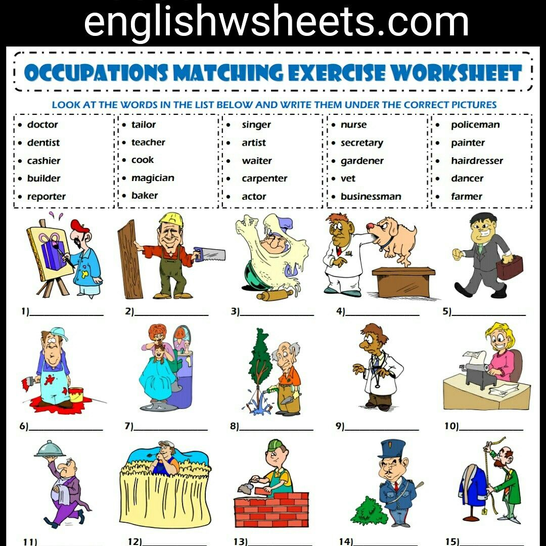 worksheet Exercise Worksheets jobs esl printable vocabulary matching exercise worksheet for kids occupations professions