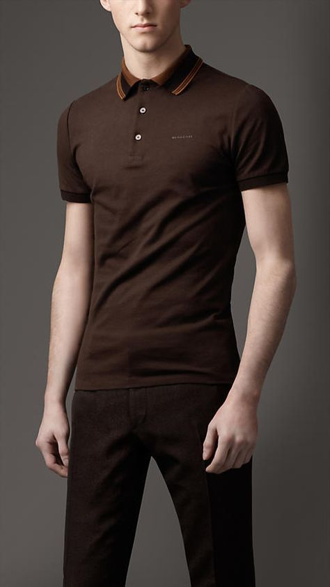 Best Designer Polo Shirts  Burberry. Brown Polo Shirt with Striped Collar.   e487c6656ca00