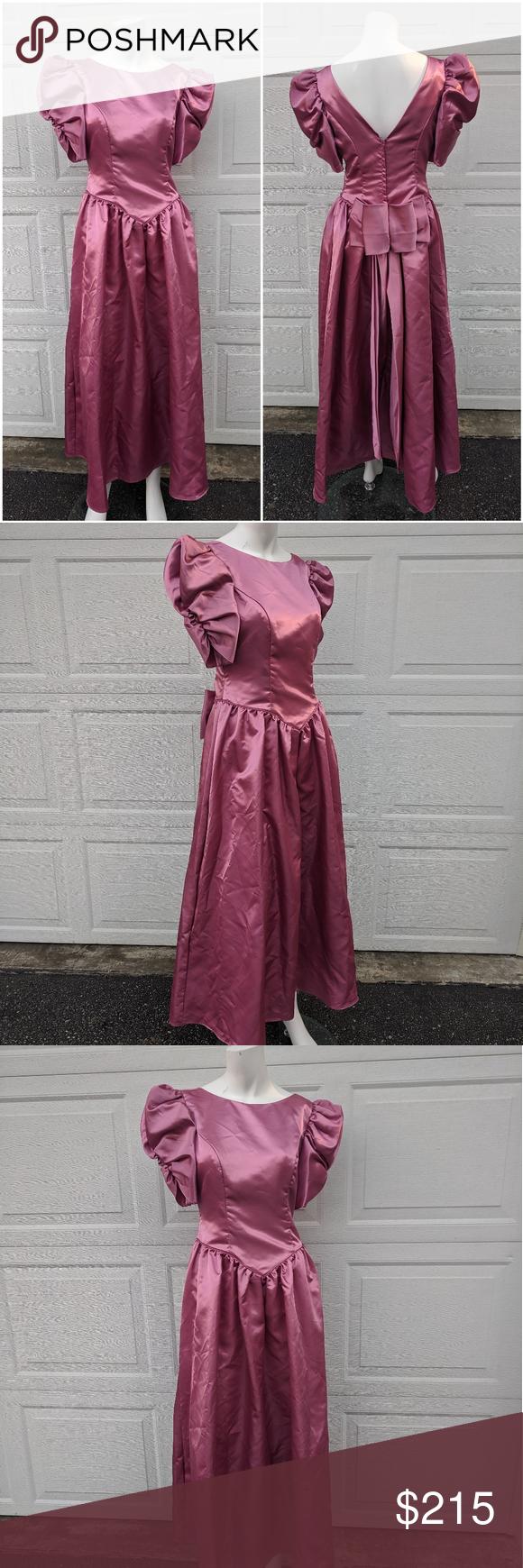 Vintage 1980's High Puff Sleeve Bridesmaids Dress