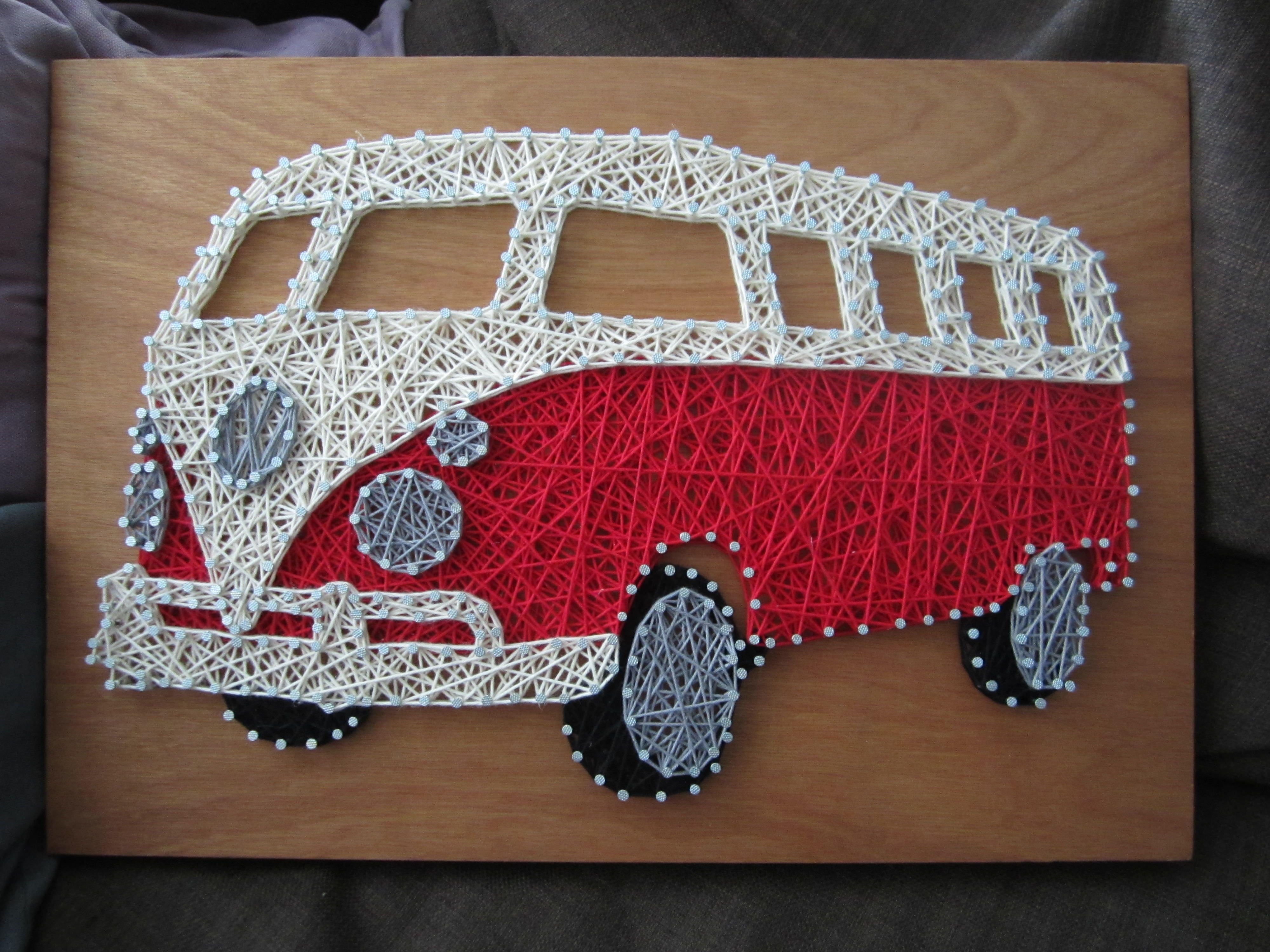 VW Van String Art #handmade #crafts #HowTo #DIY