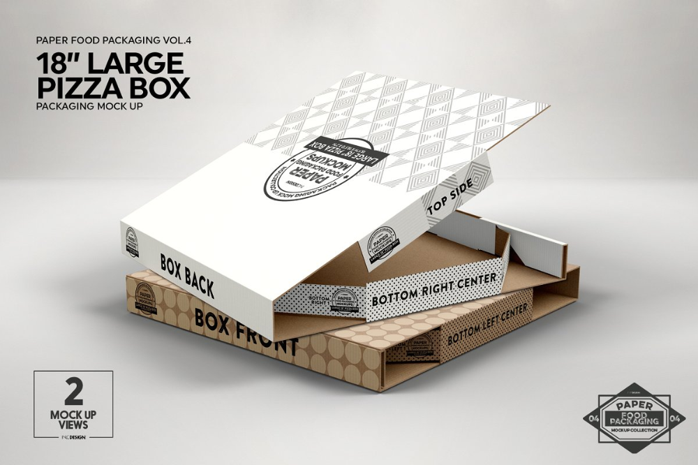 Download Large 18 Pizza Box Packaging Mockup Packaging Mockup Pizza Box Design Food Box Packaging
