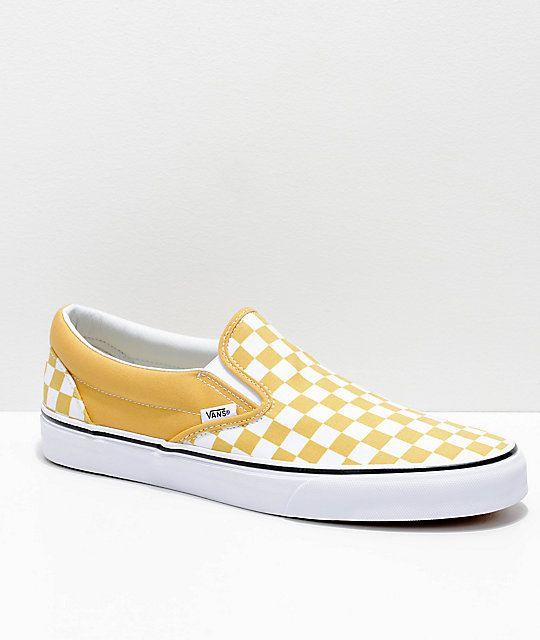 Vans Slip-On Ochre & White Checkerboard Skate Shoes - Kleding