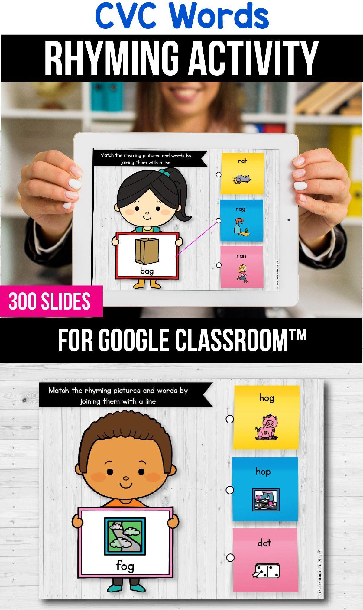 Classroom Cvc Rhyming Worksheets Digital Learning