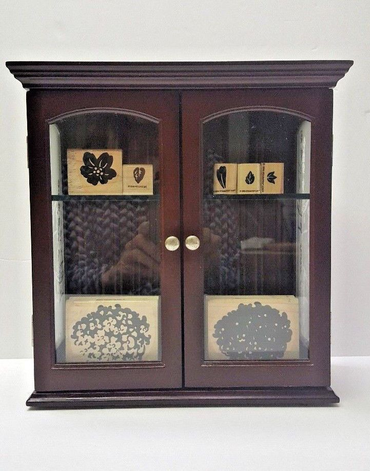 Wall Curio Cabinet Box Display Case Mount Table Wood Vintage