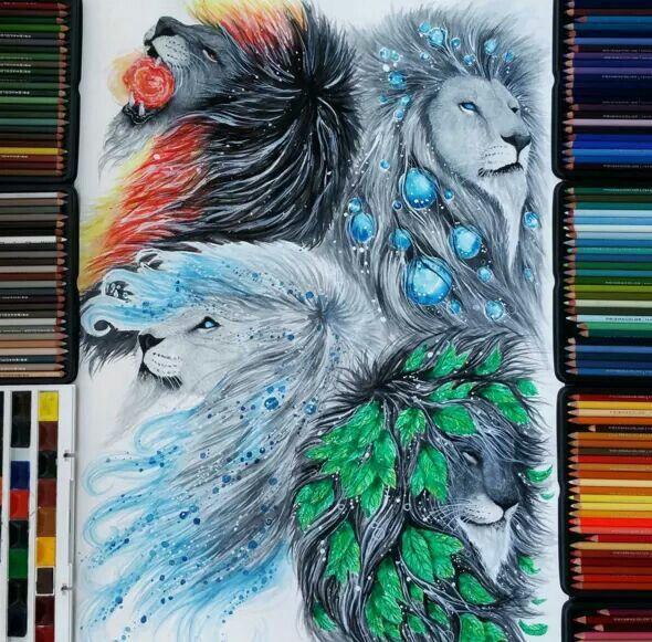 Watercolor Pencils By Finland Artist Jonna Scandy Girl Lion Art