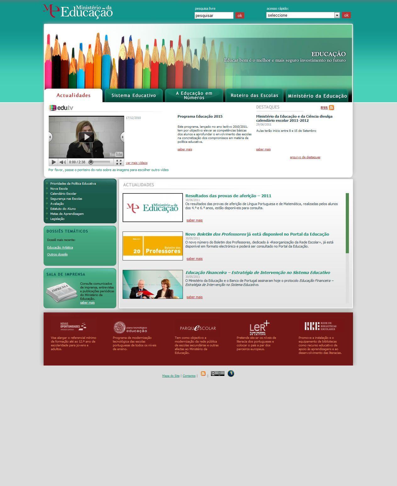 Site do Ministério da Educação (2011)