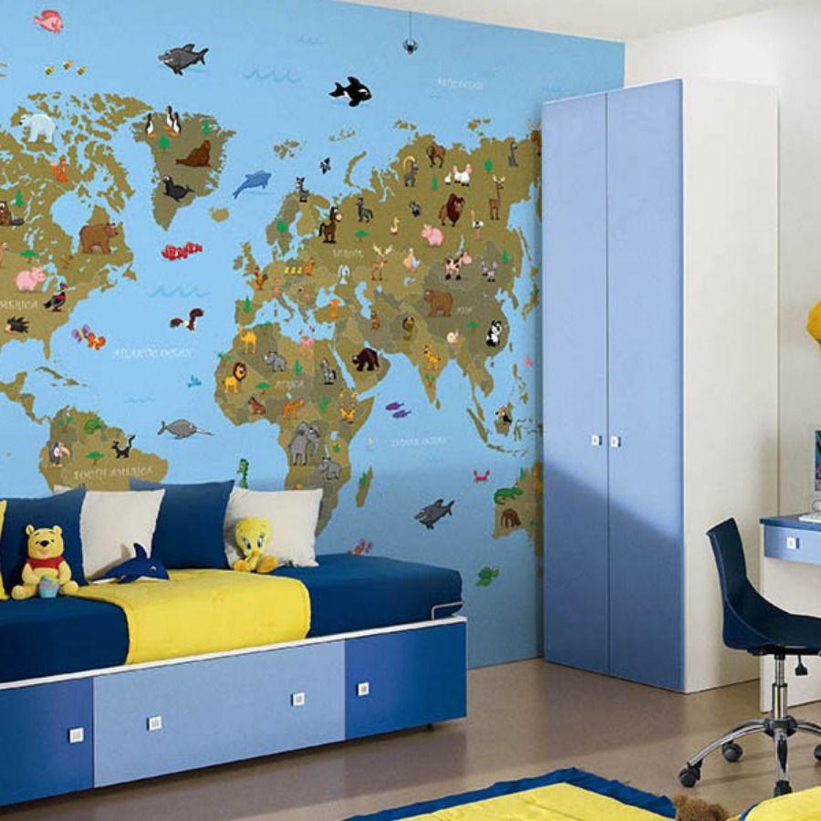 Carta da parati con mappa del mondo azzurro e marrone con