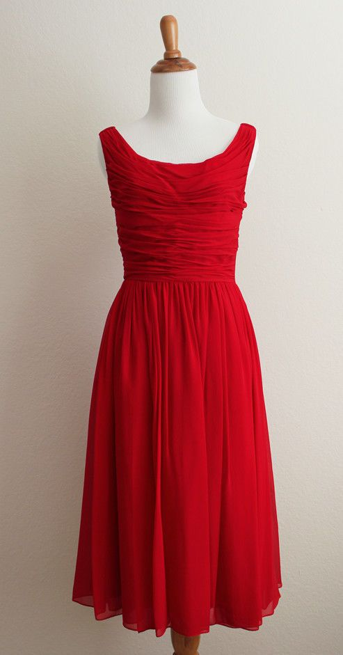 Anthropologie Moulinette Soeurs Gracia Gathered Red Silk Chiffon Dress