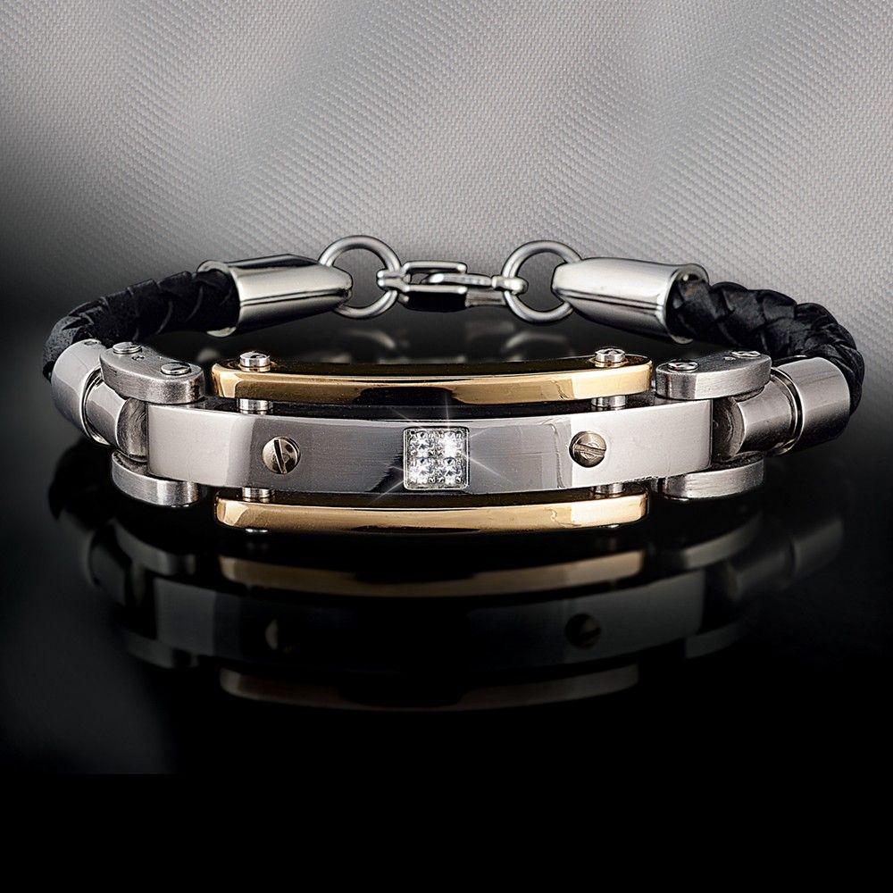 96161954344 Men s Diamond Leather Bracelet - Men s Jewelry - Jewelry