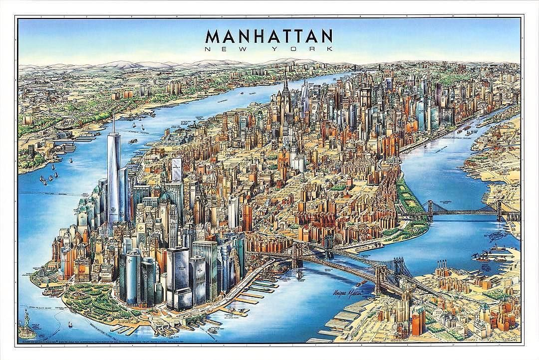 Pictorial Bird S Eye View Map Of Manhattan New York City By Unique Media Inc Map Maps Cartography Geography Manhattan Map Manhattan New York New York