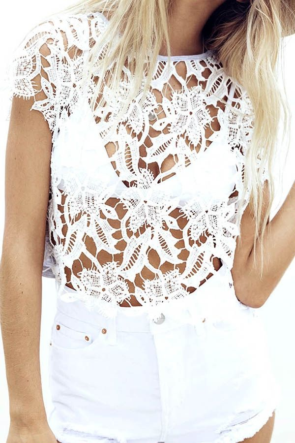 Hollow Lace Splicing T-shirt