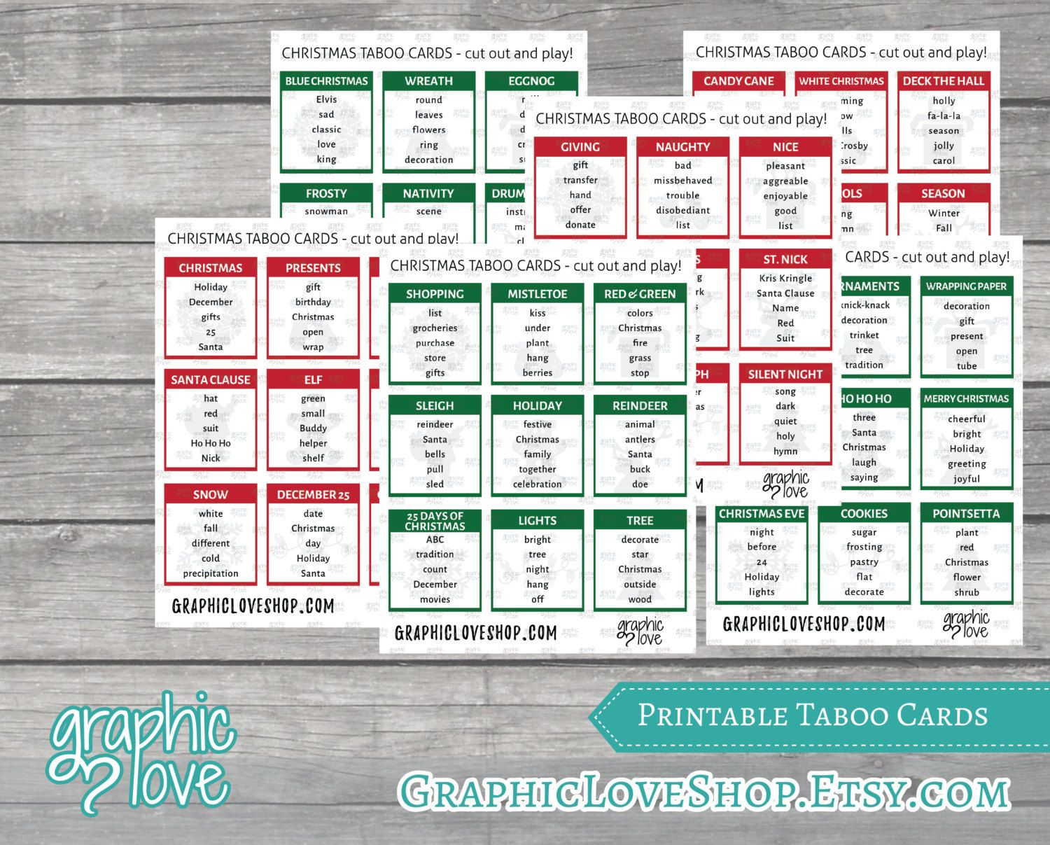 Printable Christmas Winter Themed Taboo Game With 99 Different Cards Party Supplies Holidays Pdf File Instant Download Ready To Print Taboo Game Taboo Cards Taboo