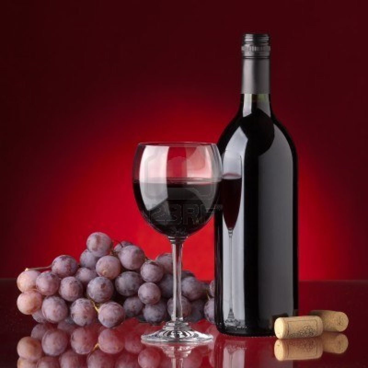 Bottle And Glass Of Red Wine Grape And Cork On A Red Background Red Wine Wine Wallpaper Wine Drinks