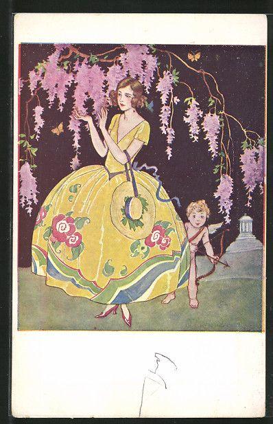 carte postale ancienne: CPA Illustrateur Amor schaut hinter einer Dame im gelben Kleid hervor