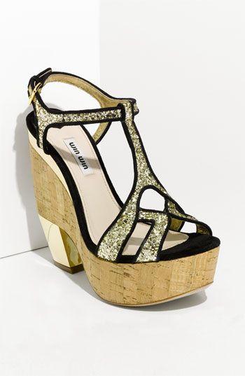 d17cd2853bcb6 Sapato · just purchased...Miu Miu Glitter Wedge Platform Sandal
