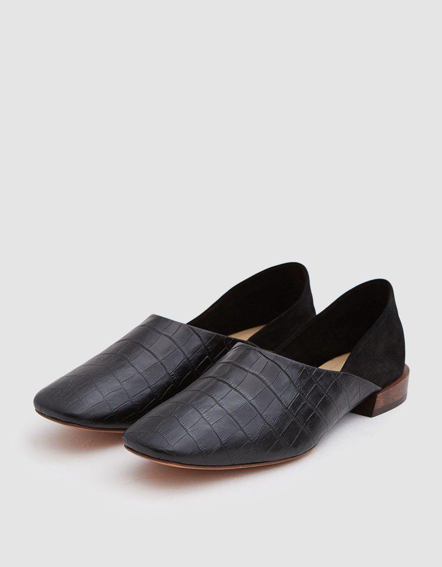 42cce9121 MARI GIUDICELLI   Bunko Croc Slipper in Black in 2019
