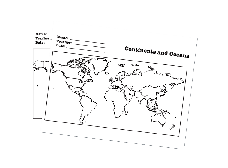 maps continents oceans worksheet label the continents and oceans of the globe download from. Black Bedroom Furniture Sets. Home Design Ideas