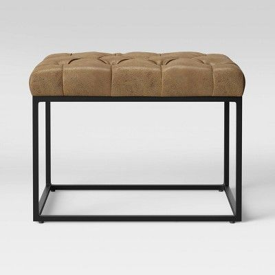 Surprising Trubeck Tufted Ottoman Faux Leather With Metal Base Brown Dailytribune Chair Design For Home Dailytribuneorg