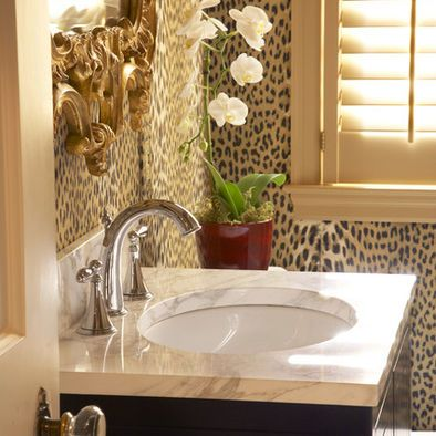 Powder Room Animal Print Design, Pictures, Remodel, Decor and Ideas
