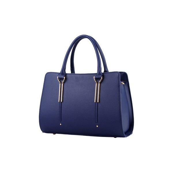 Rotita Zip Closure Navy Blue Handbag (€26) ❤ liked on Polyvore featuring bags, handbags, tote bags, navy blue, navy handbag, navy blue handbags, navy blue tote, zippered tote and blue handbags