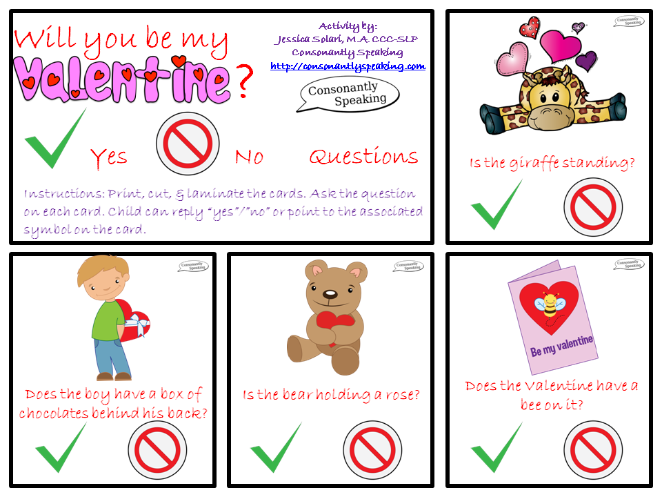 Speechie Freebies Will You Be My Valentine Yes No Questions Yes Or No Questions This Or That Questions Speech And Language