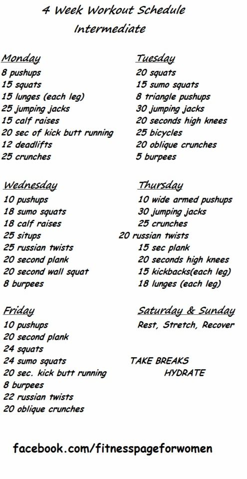 60313ec5b3d8 Intermediate exercise schedule