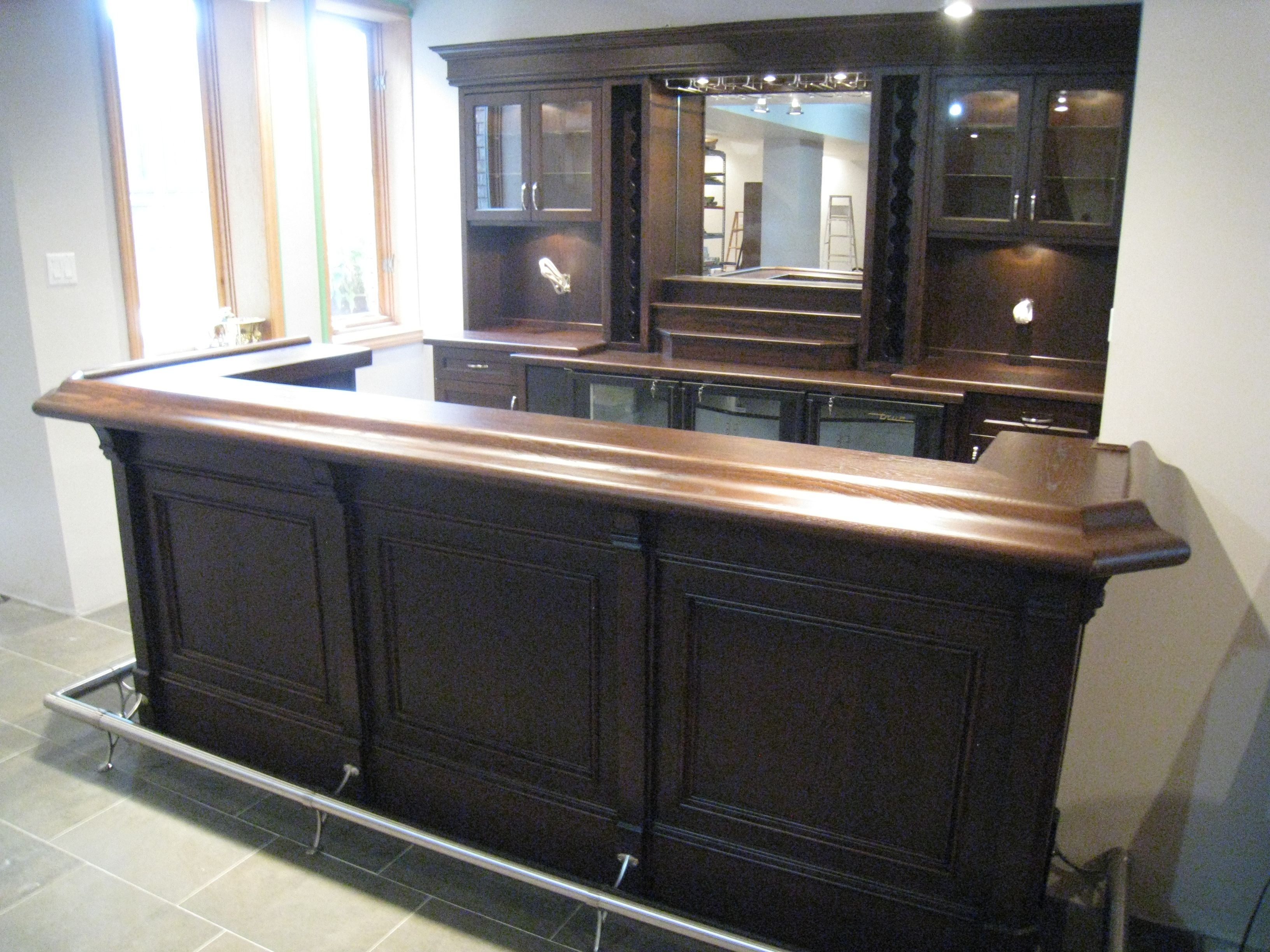 Custom home bar with back unit in maple and mocha stain for Home bar area