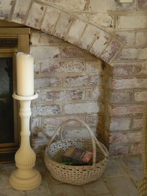 Whitewashed Brick The Painted Drawer Painted Brick Fireplaces White Wash Brick Brick Fireplace