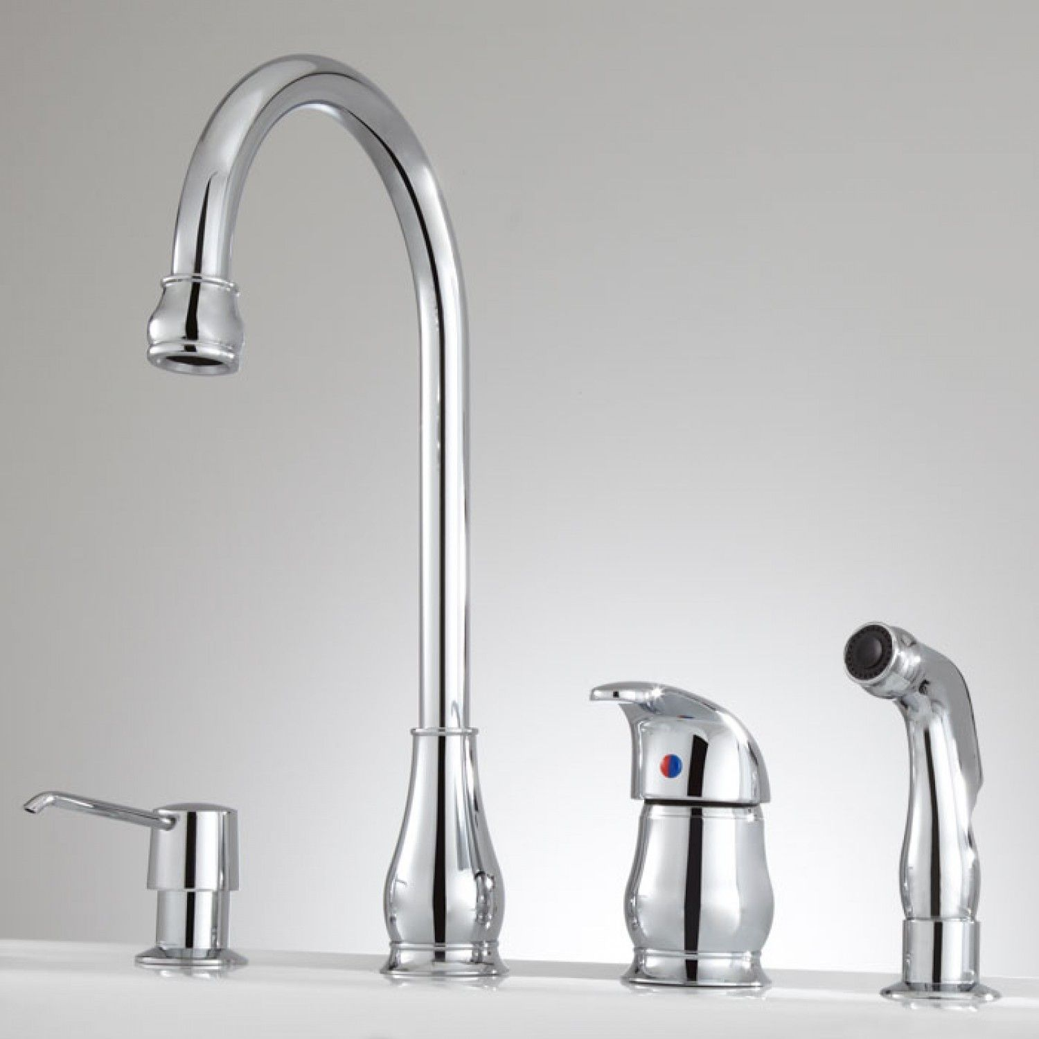 Barrow Widespread Kitchen Faucet with Handspray and Soap Dispenser ...