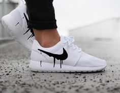 uk availability 94297 ce365 Nike Roshe Run One White with Custom Black Candy Drip Swoosh Paint