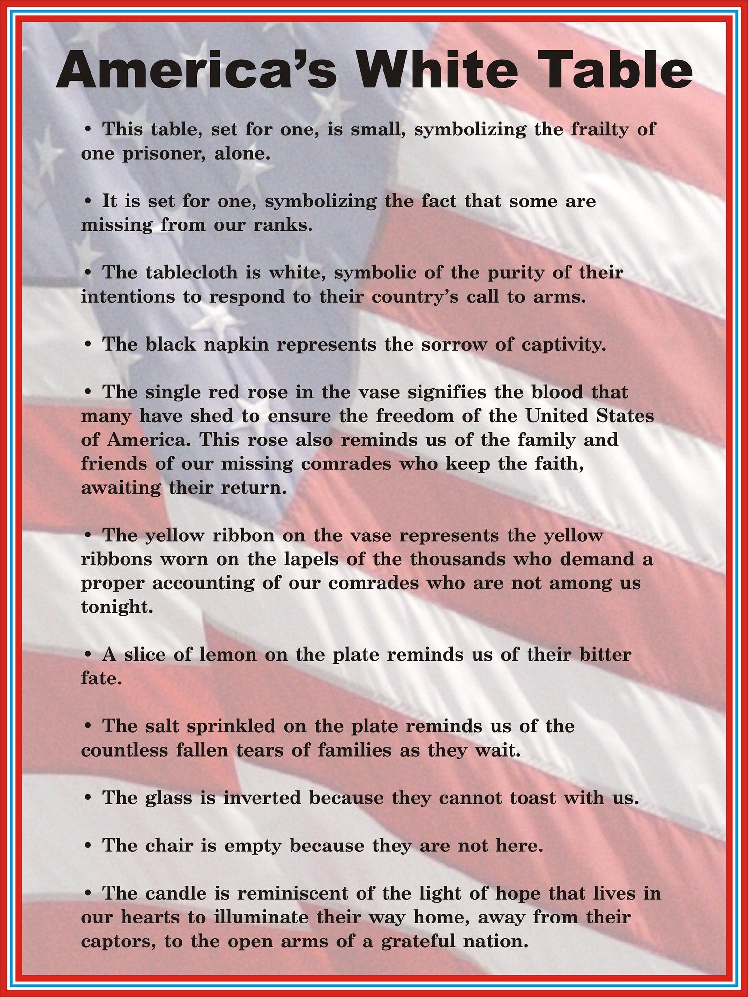 Veterans Day White Table display description sign