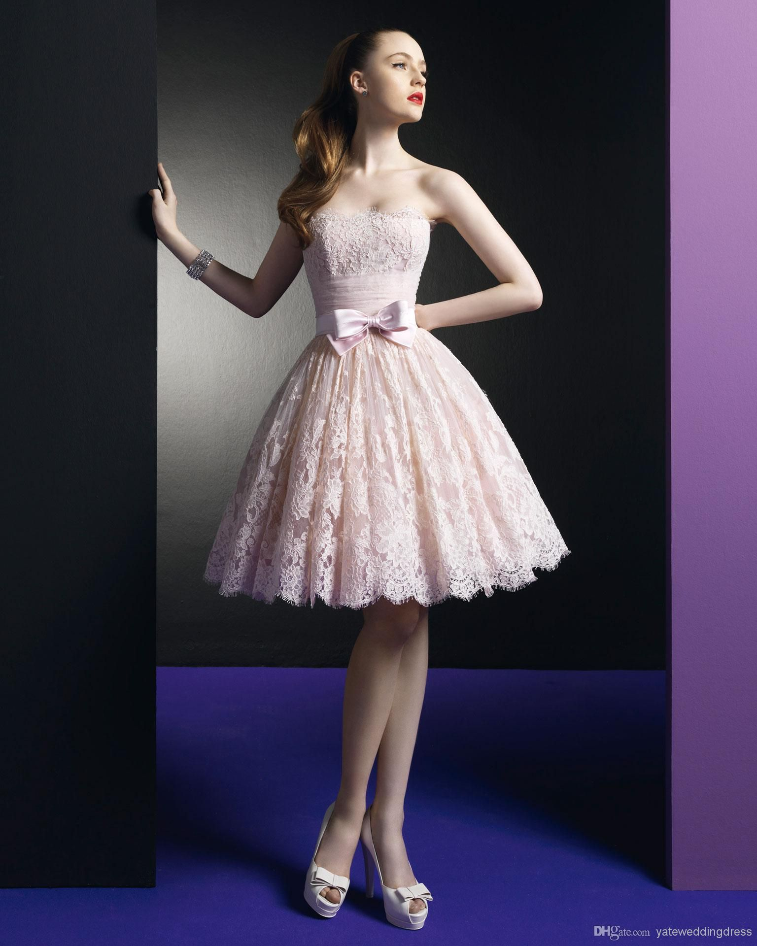 Wholesale Cocktail Dresses - Buy 2014 Sexy Zuhair Murad Dress Short Prom Dresses Pink Lace Cocktail Dresses Party With Strapless Neckline An...