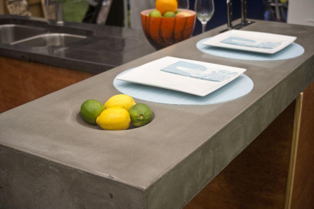 L Shaped Concrete With Integral Fruit Bowl Concrete Furniture