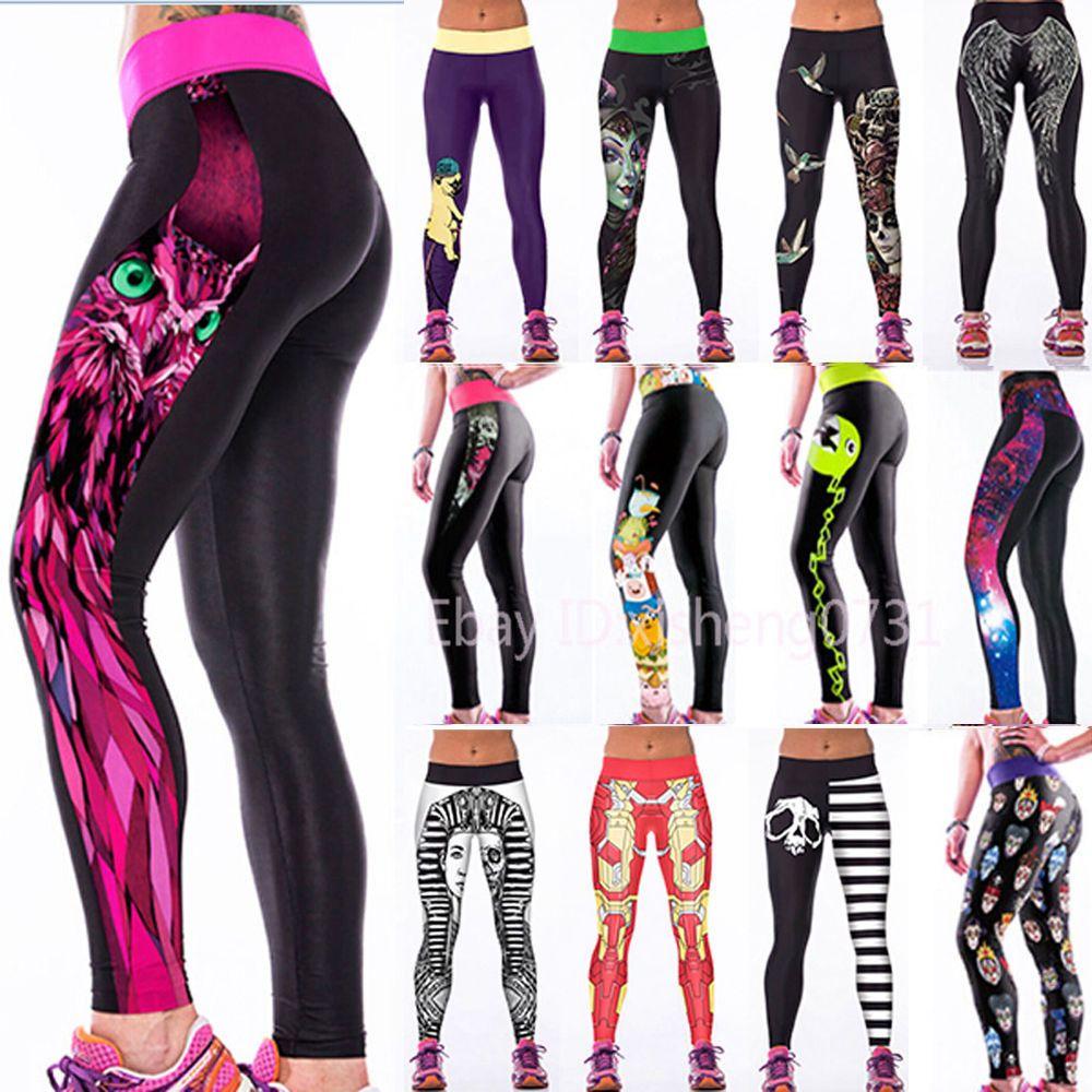 Nuevo Para Mujer Yoga Entrenamiento Gimnasio Impresión Deportes Pantalones  Leggings Fitness Stretch Trouser  a538343cc474