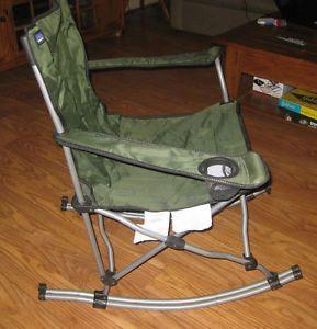 Mac Sports Folding Rocker Rocking Chair Armchair W Cup Holder Camping RV  Patio