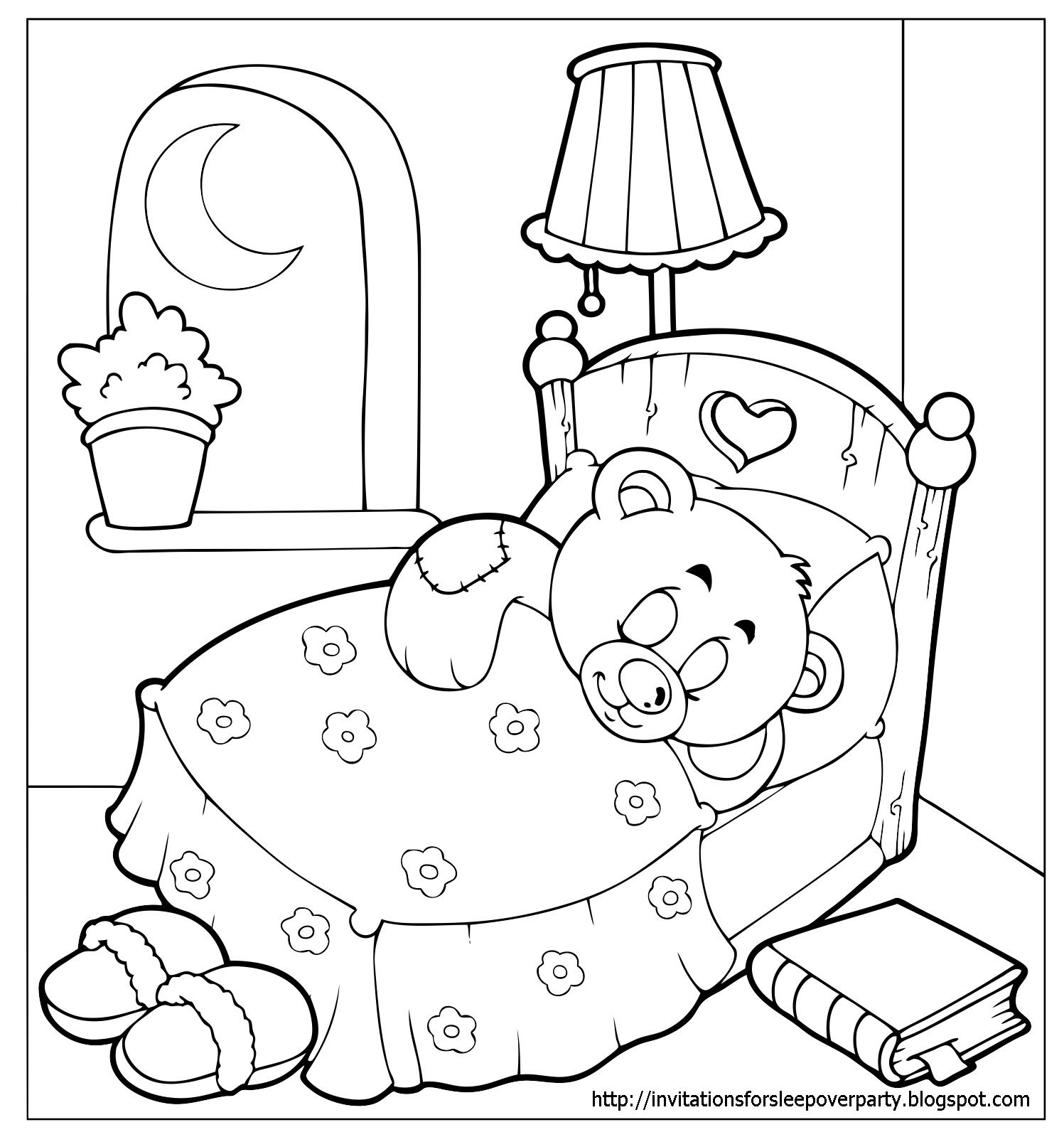 Slumber Party Coloring Pages Teddy Bear Coloring Pages Bear
