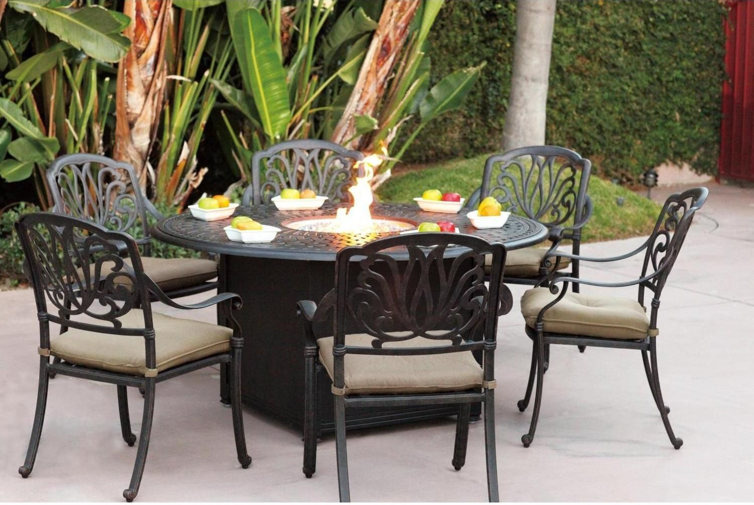 darlee propane and wood fire pit tables set consists of darlee elisabeth dining patio chair in cast aluminum with antique bronze finish and darlee 60 inch