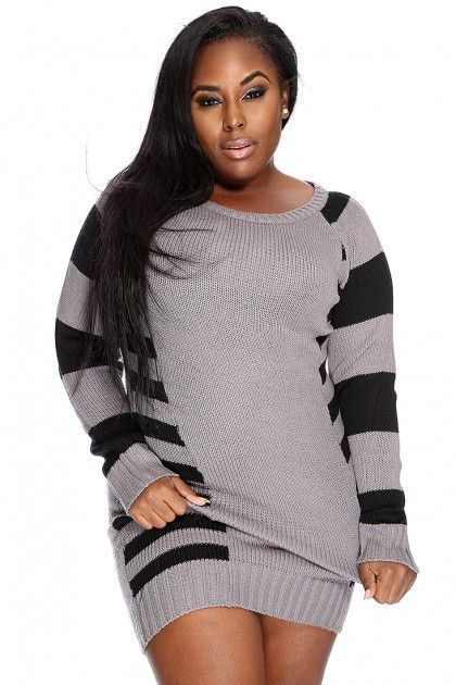 grey black stripe pattern plus size sweater dress | body