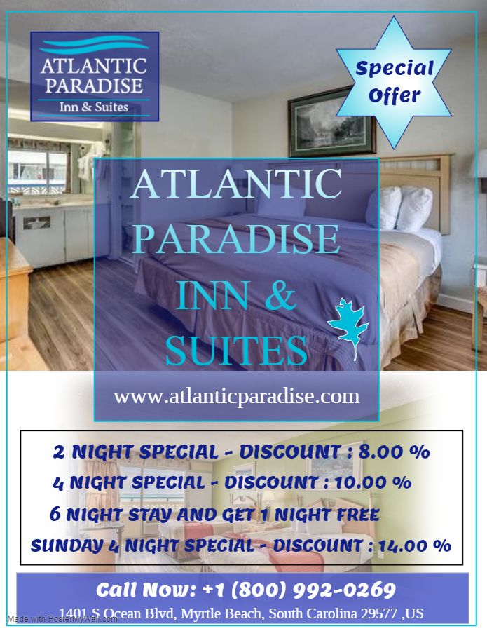 A stay 🏠at this 'Atlantic Paradise Inn and Suites' Myrtle Beach,South Carolina goes unbelievably easy on your Memories And get Two Night, Three Night Special discount. Book Now📲 +1 (800) 992-0269 .  #Myrtlebeach  #Southcarolina #Hotels #Motel #Atlantic #Paradiseinn #Suites #Holidayspecial #Enjoyed #Comfort #Entertainment #Nightlife #Travel #Vacation #Hospitality #Luxury #Hotellife #Holiday