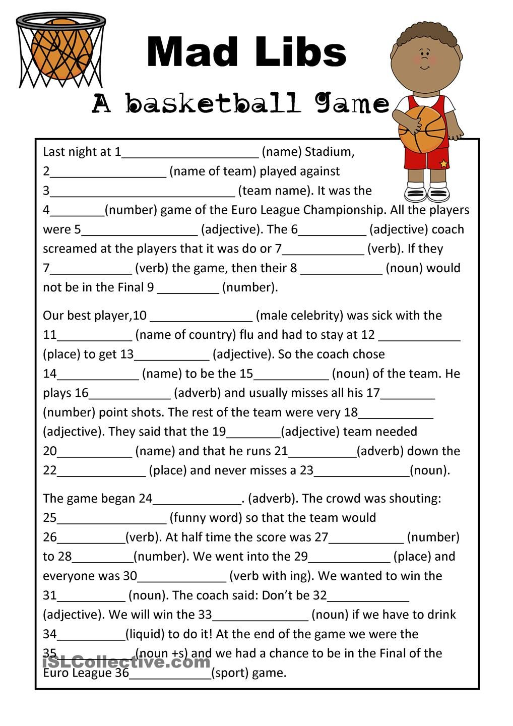 Worksheets Mad Libs Worksheets mad libs basketball game teaching esl pinterest game