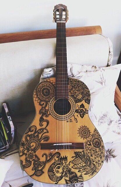 Sharpie Design On An Old Vintage Acoustic Guitar Sharpie My
