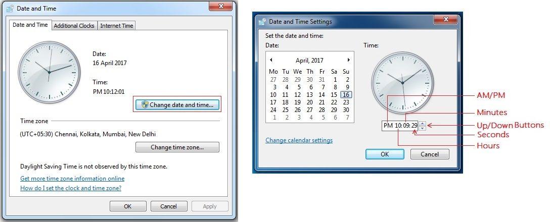 Windows Settings Settings Internet Time Windows